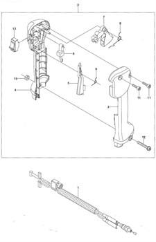 Набор тросика газа и проводов в сборе триммера Husqvarna 143R II (рис 1)