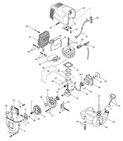 Цилиндр и поршень в сборе триммера Alpina 534D (рис 29) - фото 8754