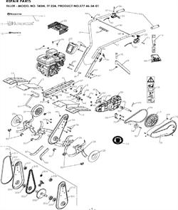 Наклейка культиватора Husqvarna TF 324 (01-2014 г.в.) (рис.16)