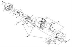 Топливный бак в сборе триммера Dolmar LT-30 (рис. 16)