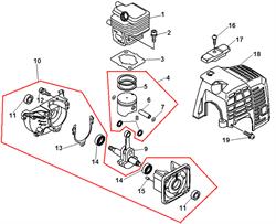 Корпус триммера Echo GT-22GES (рис. 18)