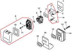 Глушитель триммера Echo GT-22GES (рис. 13)