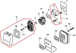 Охлаждающий лист глушителя триммера Echo GT-22GES (рис. 16)