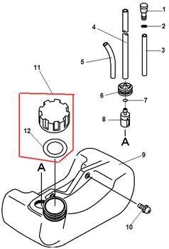 Топливный бак триммера Echo GT-22GES (рис. 9)