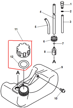 Пробка топливного бака триммера Echo GT-22GES (рис. 11)