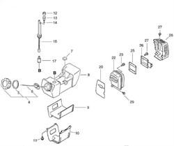 Прокладка глушителя триммера Echo SRM-4605 (рис. 20) - фото 9917