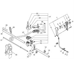 Рукоятка управления триммера Echo SRM-4605 (рис. 1) - фото 9929