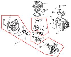 Корпус триммера Echo SRM-2655SI (рис. 19)