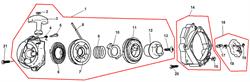 Переходной флянец стартера триммера Echo SRM-2655SI (рис. 14)