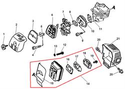Прокладка под карбюратор триммера Echo SRM-2655SI (рис. 8)