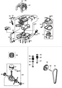 Корпус и цилиндр двигателя триммера Oleo-Mac BC 260 4S (рис. 1)