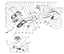 Корпус-накладка левая триммера Энкор ТЭ-1000/38 (рис.56)