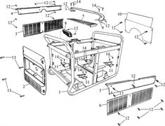 контрольная панель \ SEAT,CONTROL PANEL бензогенератора Elitech БЭС 12000 Е (рис.2) - фото 22166