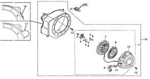 ручной стартер в сборе бензогенератора Elitech БЭС 2500 (рис.1)