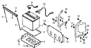 защитная панель аккумулятора боковая бензогенератора Elitech БЭС 3000  (рис.15) - фото 23119