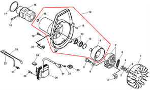 Кольцо стопорное амортизатора штанги триммера Echo SRM-2655SI (рис. 17) - фото 34781