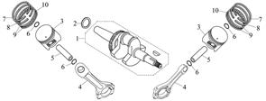 кольца набор \ RING SET,PISTON бензогенератора Elitech БЭС 12000 Е (рис.7,8,9,10) - фото 43888