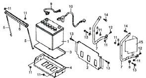 защитная панель аккумулятора боковая бензогенератора Elitech БЭС 3000  (рис.15) - фото 44894