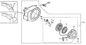ручной стартер в сборе бензогенератора Elitech БЭС 3000  (рис.1) - фото 44932