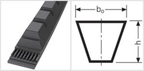 Приводной зубчаты клиновой ремень узкого профиля ХРА 1030 Ld L=L