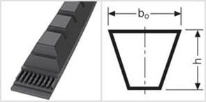 Приводной зубчаты клиновой ремень узкого профиля ХРB 1590 Ld L=L РiО