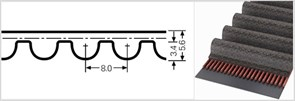 Зубчатый приводной ремень  SТD 1032 S8М