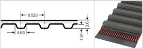 Зубчатый приводной ремень  390 L, L=990,6 mm