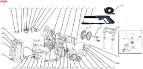 Электромотор НС 9640С с помпой в сборе минимойки Elitech М1800РБК
