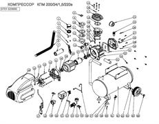 Крыльчатка вентилятора радиальная 134х14-в четверть 10-лопастей масляного коаксиального компрессора ElitechКПМ 200/24 (рис.44)