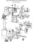 Блок регулировки в сборе ленточной пилы Корвет 35 (рис.51)
