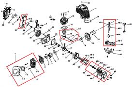 Поршень в сборе (кольца, поршень,палец, подшипник пальца, стопорные кольца) триммера Champion T 252 (рис A1)