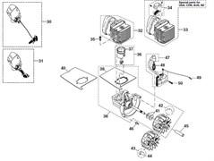 Картер двигателя, маховик, прокладка в сборе  триммера Dolmar LT-30 (рис. 38)