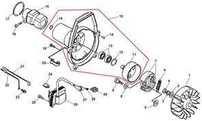 Кольцо стопорное амортизатора штанги триммера Echo SRM-2655SI (рис. 17) - фото 9959